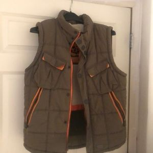 Super dry vest xl green and orange and white